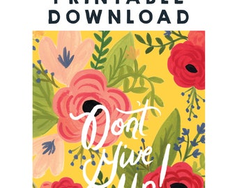 Digital Download - Gold Floral Don't Give Up! 2017 Convention of Jehovah's Witnesses Notebook, JW Gift, JW Convention Notebook, PDF File