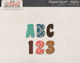 Alpha, digital scrapbooking elements, embellishments, instant download alphabet, hippie, boho, sixties, seventies, leather, lettering