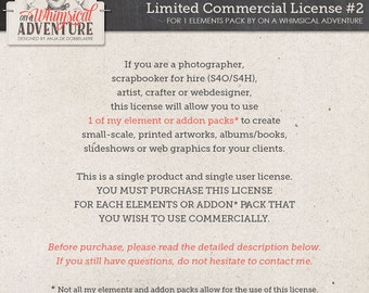 Limited Commercial Use License for photographers, scrapbookers for hire (S4O/S4H), artists, crafters or web designers for 1 elements pack