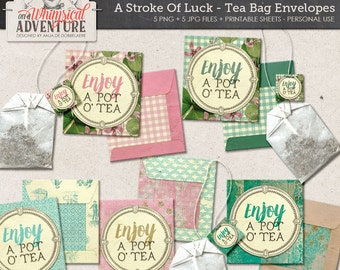 Saint Patricks Day printable DIY tea bag envelopes, digital download, printable collage sheet, high tea, tea bag, clover, spring tea party