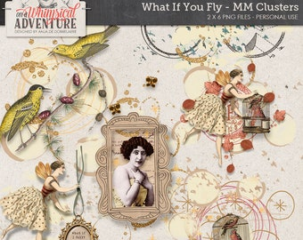 Art journal digital scrapbook elements, digital download, what if you fly, mixed media clusters, vintage ephemera, mixed elements, paint