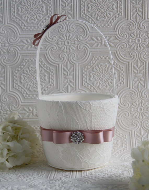 Flower Girl Basket Blush : Blush flower girl basket and ivory lace