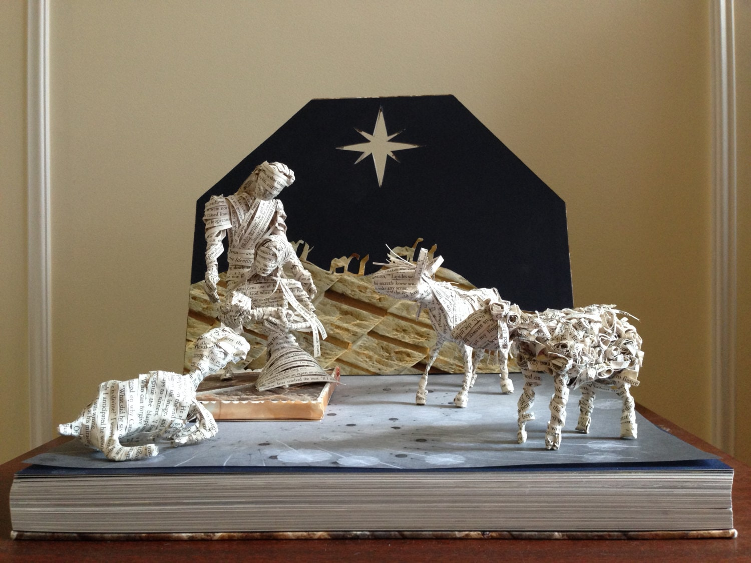 The nativity paper sculpture book art christmas decor baby for Baby jesus christmas decoration