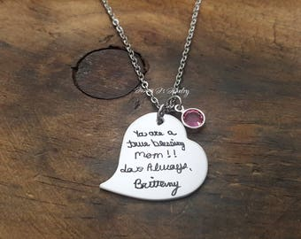 Actual Handwritten Necklace, Handwriting Jewelry, Engraved Handwriting, Personalized Signature Jewelry, Handwritten Engraving, Gift For Her