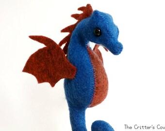 Blue / Red Seahorse - Felt Dragon Seahorse Plush