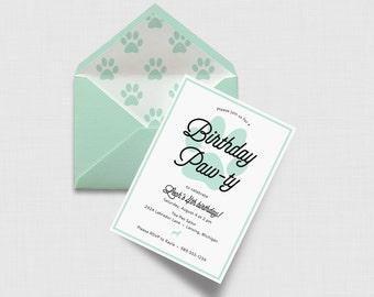 "Birthday Paw-ty 5"" x 7"" Invitation - Dog Party - Digital or Printed"