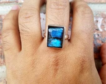 Labradorite ring - Mens Ring - Mens Silver Ring -  Mens Jewelry - Mens Gemstone Ring - Ring for men - Labradorite Jewelry
