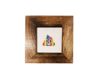 Rainbow Poop Emoji framed cross stitch