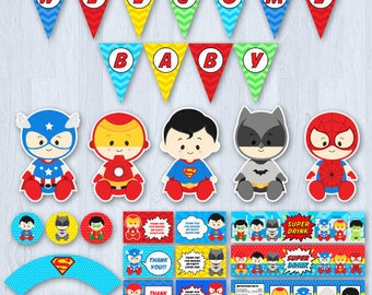 Superhero Baby Shower, Superhero Baby Shower Party Package, Superhero Baby Shower decoration,  Superhero Baby Shower printables