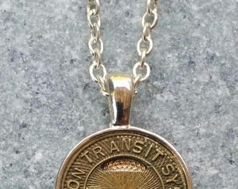 """Handcrafted Tucson Transit Token Pendant Necklace with 24"""" Chain"""