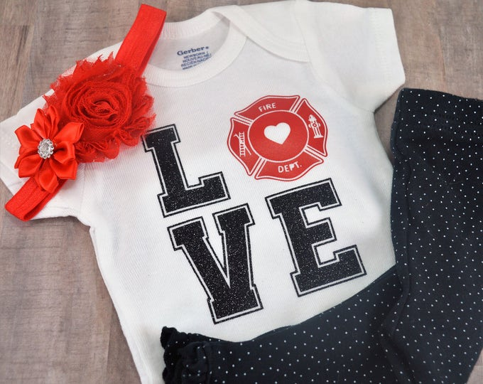 LOVE Fireman Hero Baby One-Piece Newborn Infant Toddler Cute Baby Shower Birthday Coming Home Outfit Creeper Daddy Fireman Firefighter Shirt