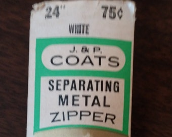 Vintage 24 Inch J & P Coats Metal Zipper Original Package Never Used Color White, sewing notions