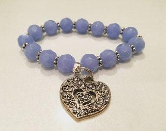 Beaded bracelet heart charm