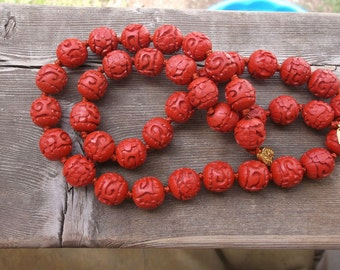"Beautiful hand carved 74g red Cinnabar necklace 28"" Long 40 beads hand knotted 14mm O  1/2""  + O gold flower box clasp lacquer flower symbol"