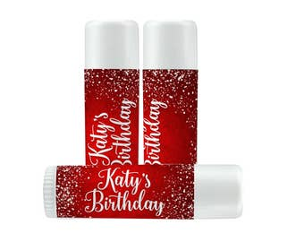 Lip Balm Labels - Personalized Lip Balm Labels - Birthday labels - 1 Sheet of 12 Lip Balm Labels - Custom Lip Balm Labels