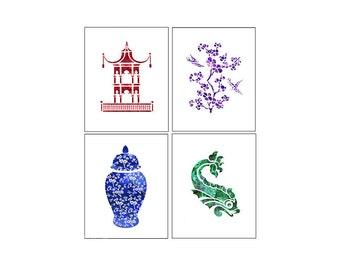 Chinoiserie Art Prints Pagoda Ginger Jar Koi Fish Blue and White Jar Amethyst Emerald Ruby Red Sapphire Blue Nature Birds Fish Chinese Jewel