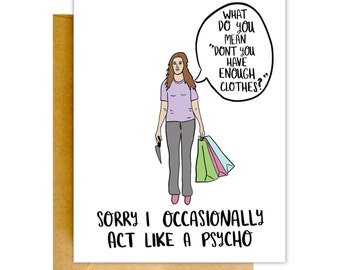 Funny Naughty Card, Birthday Card, Funny Psycho Card, Anniversary Card, Card for Boyfriend, Funny Card, Card for Him, Love Card
