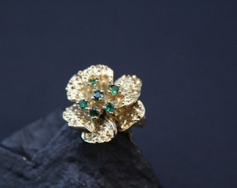 Sterling Silver Vermeil Flower Ring with Green Gemstones