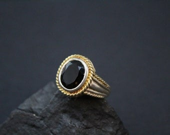 Sterling Silver and Smoky Quartz Gemstone Ring with Rope Border and Gold Wash Accents