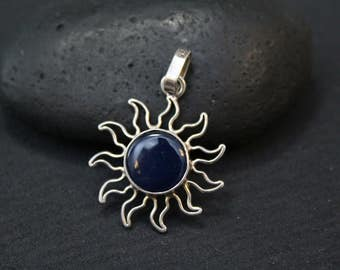 Silver sun necklace etsy sterling silver sun pendant silver sun necklace hippie jewelry bohemian style silver mozeypictures Images