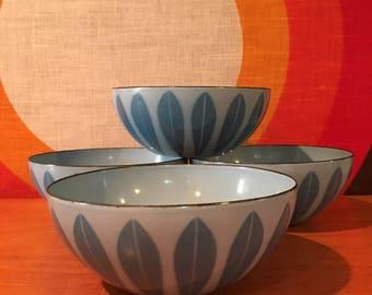 "Vintage Cathrineholm Lotus Bowl, 5.5"", Four Available, Turquoise Blue on French Blue Enameled Steel, Snack Bowl, Grete Prytz Kittelson"