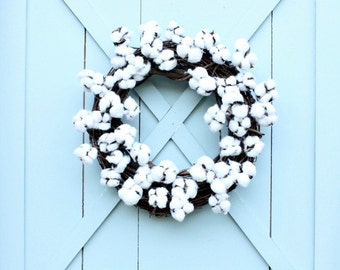 Cotton Wreath ~ Gift for Her ~ Housewarming Gift ~ Farmhouse Decor ~ Farmhouse Wreath ~ Modern Farmhouse ~ Rustic Wreath ~ First Anniversary