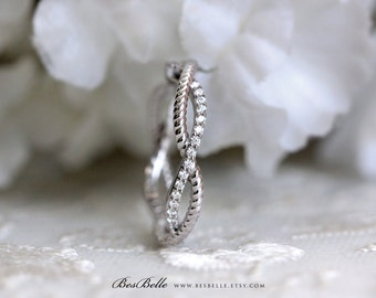 0.48 ct.tw Crossover Eternity Ring-Infinity Band Ring-Twist Spiral Engagement Ring-Stackable Ring-Promise Ring-Solid Sterling Silver [2752]