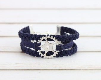 Gear charm bracelet Steampunk jewelry Cogwheel charm Braided suede bands Cycling gear Bike sprocket Gift for cyclist Friendship bracelet