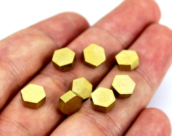 100 pcs Raw Brass Industrial Hexagonal Findings No Hole, (7 mm) Edge Lenght 4 mm Thickness 3 mm