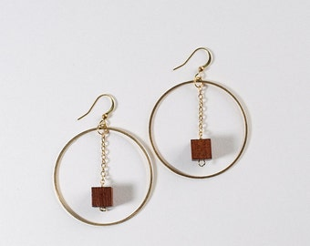 Brass Hoop and Wood Block Earrings