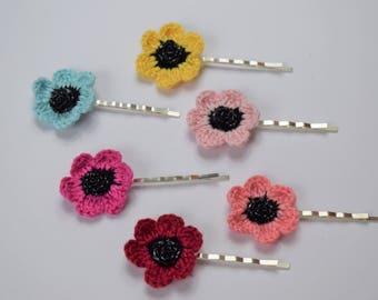 Flower Pins ~ Hair Pins ~ Girls Hair Pins ~ Set of 6 ~ Silver, Gold or Grey Pin Options- ~ Multi-color Flower Pins