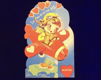 1940's Pilot Girl & Airplane Valentine Card Excellent Collectible!