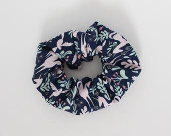 Scrunchie, Hair tie, Floral unicorns, Mint, Coral, Pink, Navy, Metallic gold, Elastic, Flowers, Magical, Ponytail, Cotton, Shabby chic, Girl