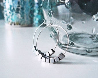 Hoop earrings silver hoop earrings with cubes, round silver, Silver earrings, 2.5 cm hoop earrings, Silver earrings, medium-sized hoops round earrings