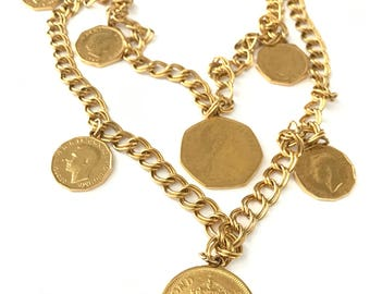 Vintage Two Strand Gold Plated Coin Charm Necklace // Coin Necklace // Charm Necklace