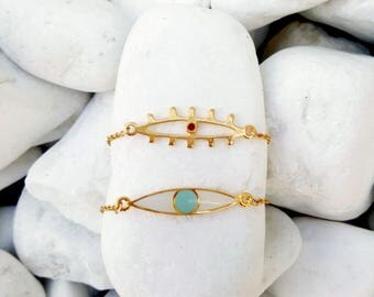 Evil Eye Bracelet, Evil Eye Jewelry, Modern Jewelry, Boho Bracelet, Protection Bracelet, Gold  Bracelet, Bohemian jewelry, Layered Bracelet