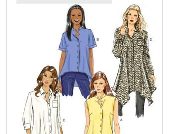 Butterick 5786, Misses' Button-Down Shirt Pattern, Loose-fitting shirts, handkerchief, high-low hem, sleeve, collar options, Sz 8-16, UN-CUT