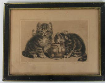 "Meta Pluckebaum Signed ""Sweet Tooth"" 1930's Etching Print of Kittens or Cats in a Sugar Bowl"