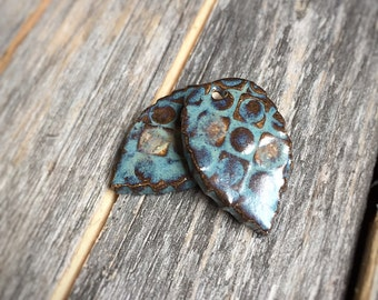 2 Leaf Pendants | Ceramic Jewelry | Stoneware jewelry supply | Rustic Blue, Bronze Pendants | Mini Leaf Charms | Earring & Necklace Supply
