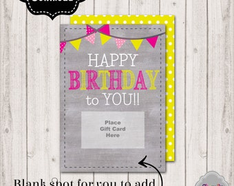 INSTANT DOWNLOAD -Birthday Gift Card Printable - BDAY003a - Birthday gift card holder, gift idea for girls, women, ladies, sparkle and shine
