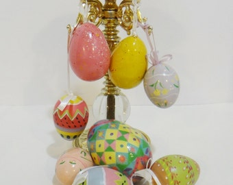 8 Easter Eggs Decoupage or Hand Painted Large Bright Colors Ornaments w/ Hanger Lightweight Great for Tree