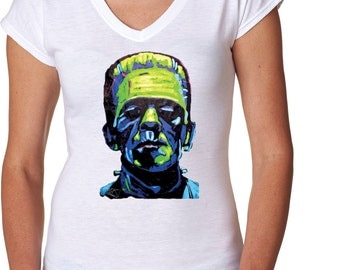 Ladies Frankenstein Face Tri-Blend V-Neck Tee T-Shirt 20719NBT2-6750VL