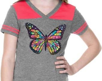 Girl's Neon Butterfly Football Tee 20995NBT4-GJP0604
