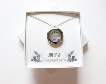 February Birthstone Necklace, February Necklace, Amethyst Gemstone Locket, Amethyst Necklace, Amethyst Pendant, Raw Amethyst Necklace,
