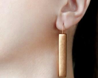 Copper earrings Bar earrings Copper dangles Stick jewelry Minimalist earring Copper jewelry Cocktail earring Minimal dangle and drop earring
