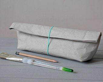 Pencil Case, made from light grey washable paper, Cosmetic bag, Concrete look, Minimalist style, Desk organizer, Gift for Artist, Architect