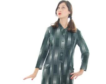 Womens Dresses, 50s, Dark Green And White Polka Print Vintage Dress For Women 1950s, 50's Dress, 1950 Dress, Vintage Dress, Free Shipping