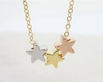 Triple Star Necklace, multi-color star necklace, bridesmaid necklace, children necklace, family necklace, mothers necklace