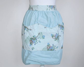 Vintage 1950s Novelty Pattern Apron - Musical Instrument - Lute - Musical Notation Paper - Blue - Squiggle Trim