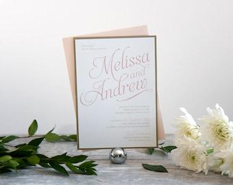 Classic & Elegant Wedding Invitation, Deposit to Get Started